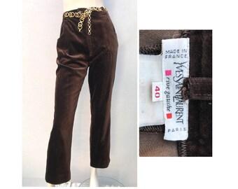 98fdf4549e8f 1980s Yves Saint LAURENT rive gauche brown velvet Tapered High waisted PANTS     size eu 40 waist 27