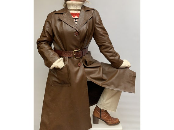 70s vintage  brown leather TRENCH COAT Leather tre