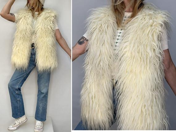 70s vintage wool yeti beige VEST  70s wool waistco