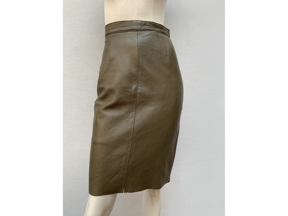 vintage 80s leather pencil SKIRT / green leather s
