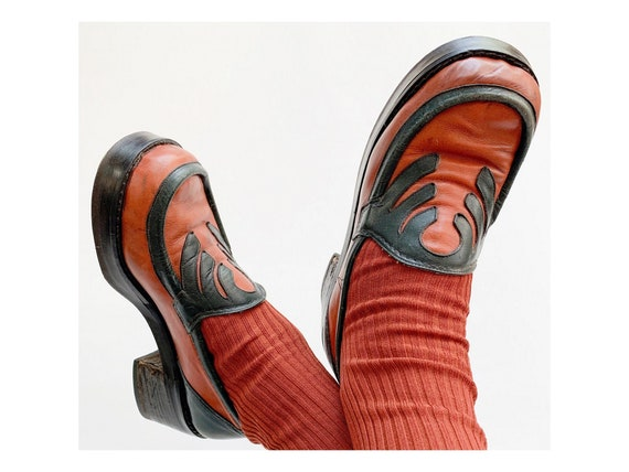 70s vintage leather platform Loafers  platforms Mo