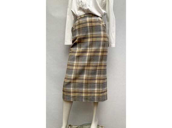 vintage 80s wool plaid Skirt / pencil skirt / 80s