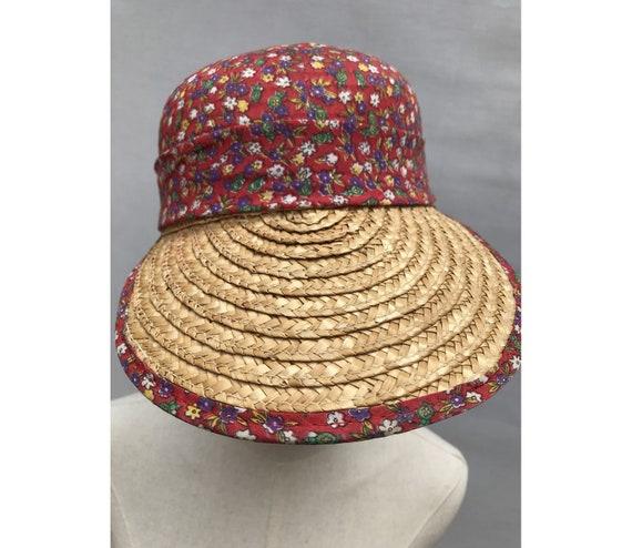 1980s Straw Liberty Cotton Scarf CAP // 1980s str… - image 7