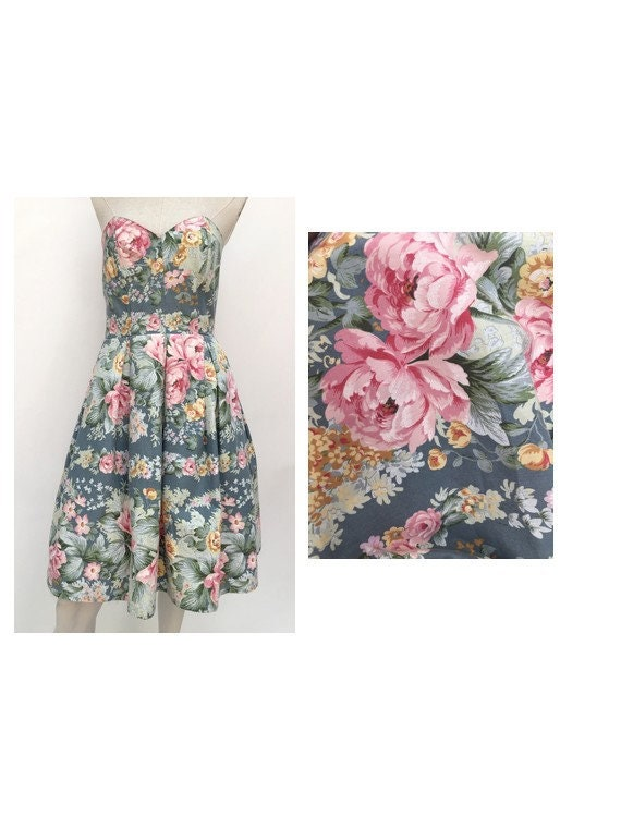 vintage 80s DRESS floral bustier dress  STRAPLESS