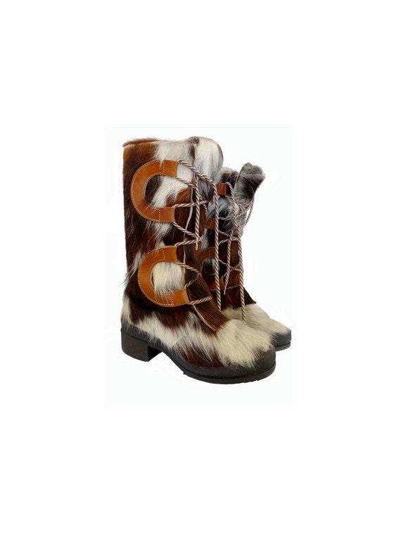 vintage 60s yeti boots // 60s snow boots // fur l… - image 1
