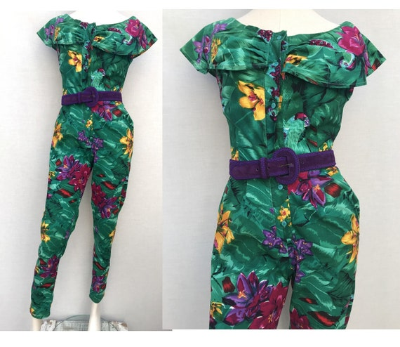1980s iNDIAN Floral Green purple Tropical JUMPSUIT