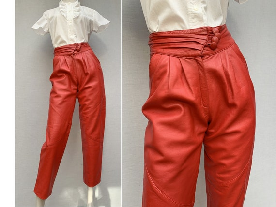 80s vintage red leather PANTS / high waist pants /