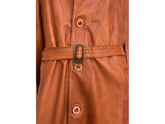 70s fox brown leather TRENCH COAT  Leather trench… - image 5