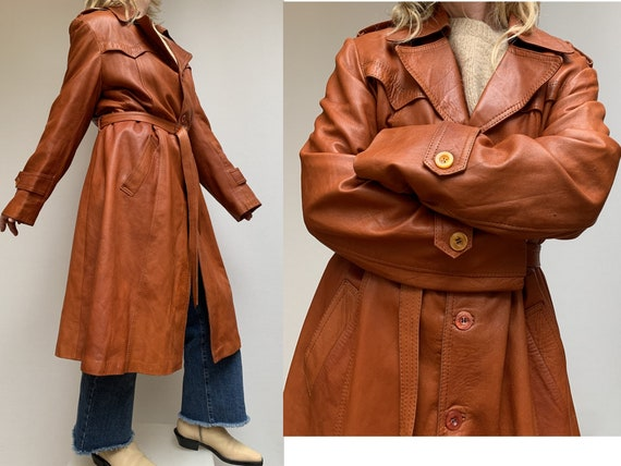 70s fox brown leather TRENCH COAT  Leather trench