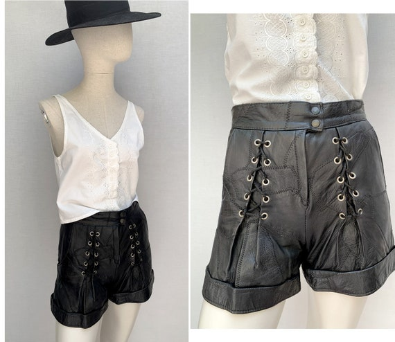 eighties vintage leather SHORTS // laced leather S