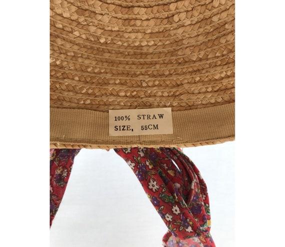 1980s Straw Liberty Cotton Scarf CAP // 1980s str… - image 3