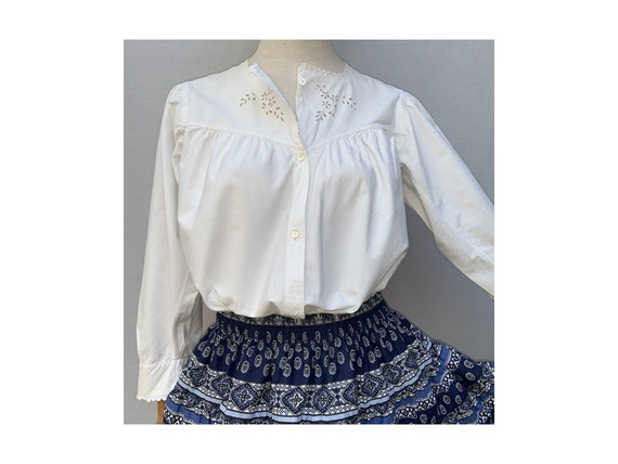 antique white cotton BLOUSE  /1900s French antique