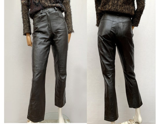 vintage 80s black leather PANTS / Tapered  leather