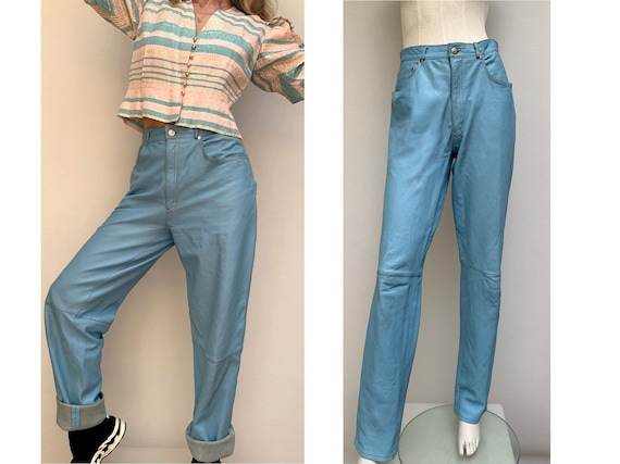 FIORUCCI 80s leather blue high waisted PANTS taper