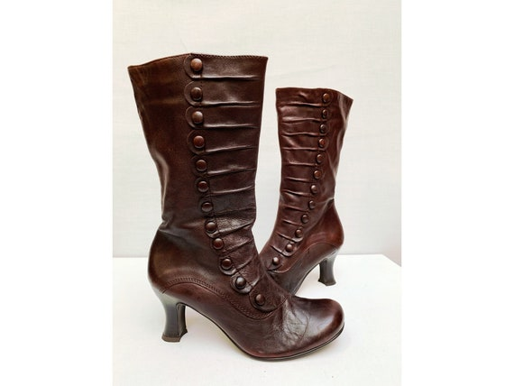 90s 20s style leather round toes kitten heels BOOT
