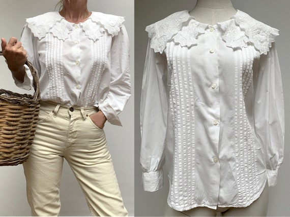 80s white cotton shawl collar BLOUSE embroidered w