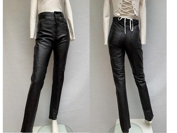 vintage 80s Slim  black leather PANTS 80s black