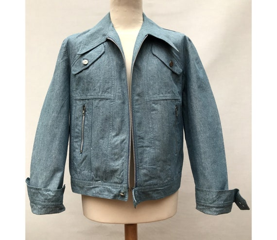 1970s Blue  Denim  MEN jacket // 1970s denim blaze