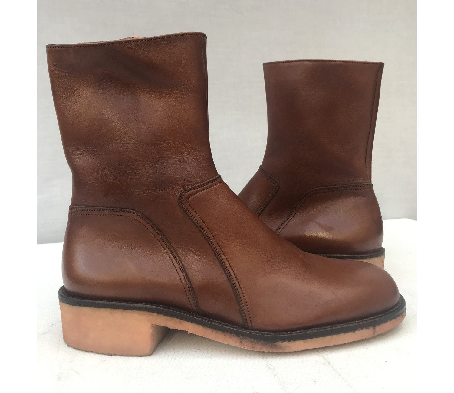 0c6dc947551 Men 1970s New Old Stock Brown Leather Bally Ankle BOOTS // size eu 39 - uk  5.5- us 6