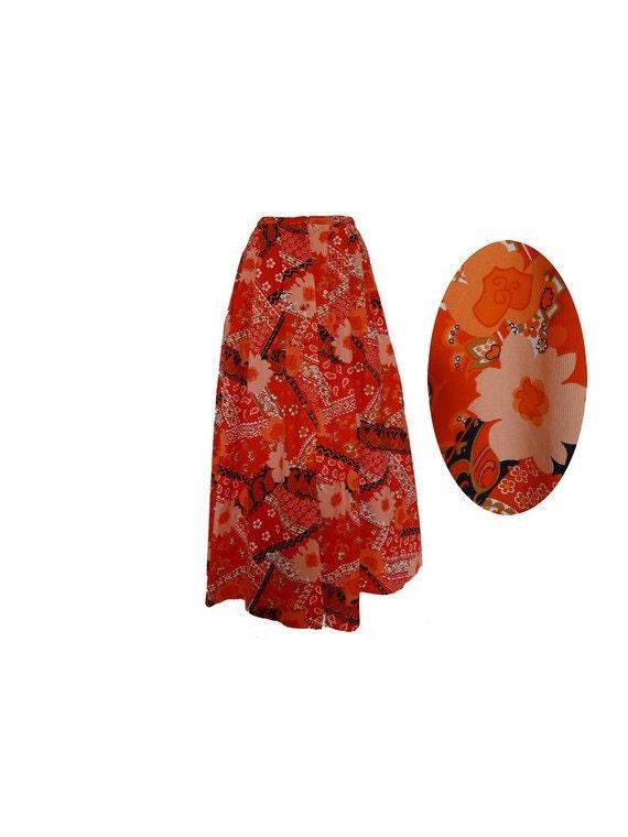 70s vintage Floral skirt orange MAXI Skirt  psyche