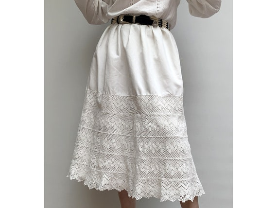 antique lace french linen Handmade SKIRT elastic w