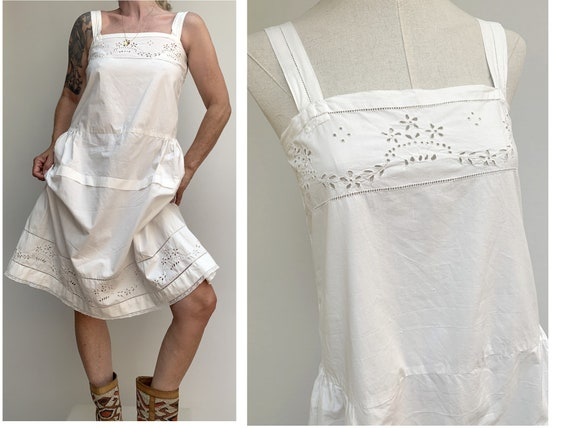 antique white cotton open eyelet embroidered DRES… - image 1