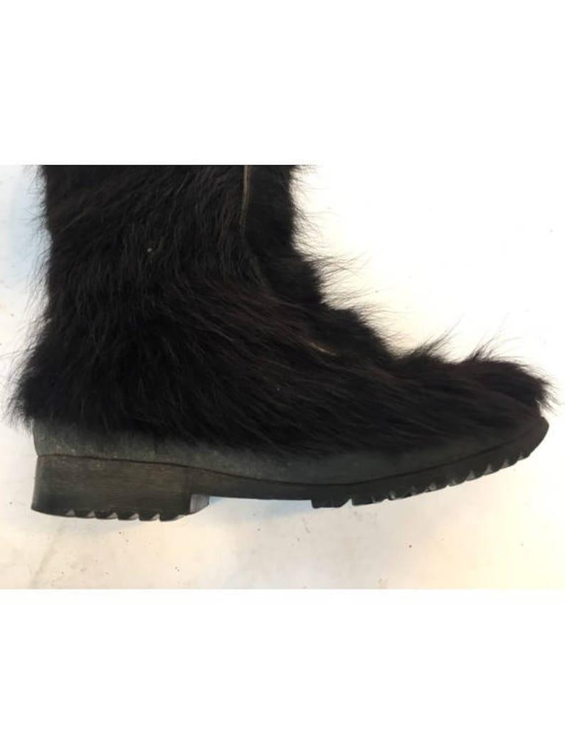 RESERVED 1960s PICHETTE black long hair Goat Fur Winter boots  Mod after ski BOOTS size eu 38-uk5-us 6.5