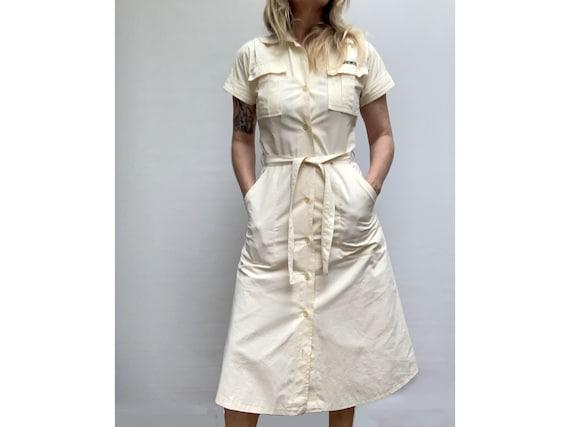 70s vintage cotton Beige SHIRTDRESS summer 70s dr… - image 3