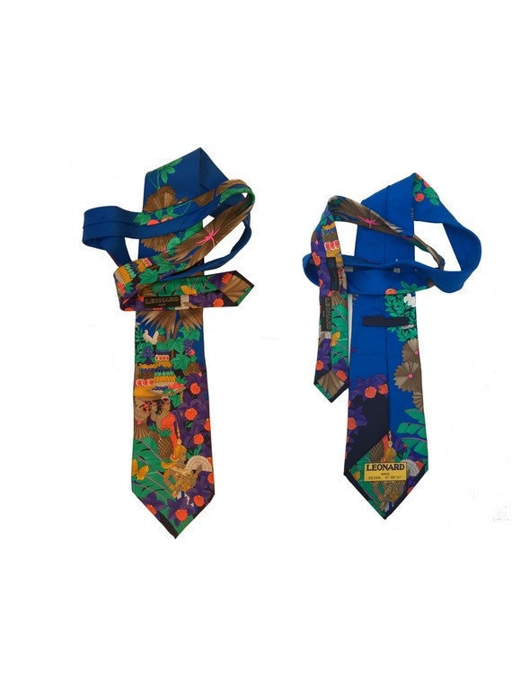 1970s LEONARD Necktie Paris colorful NUMBERED  pai