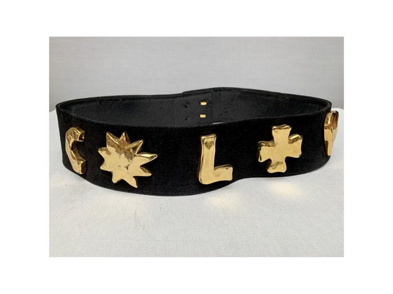 80s vintage Gold metal LOGOS belt / black suede 80