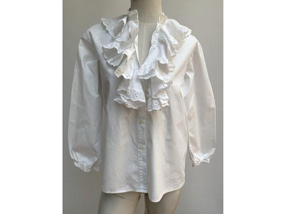 vintage white cotton lace jabot BLOUSE New romant… - image 4
