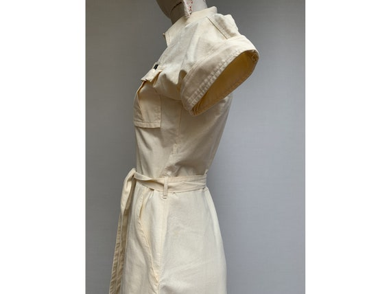 70s vintage cotton Beige SHIRTDRESS summer 70s dr… - image 6