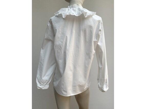 vintage white cotton lace jabot BLOUSE New romant… - image 5