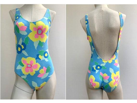 80s neon cotton One Piece SWIMSUIT 80s swimwear fl