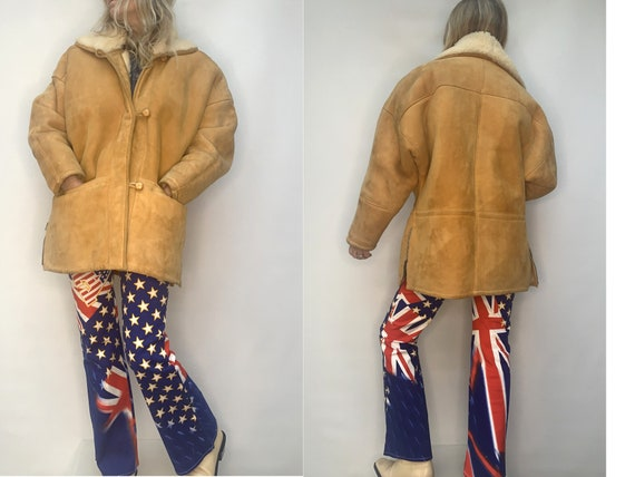 vintage SHEARLING natural tan  fur sheepskin COAT
