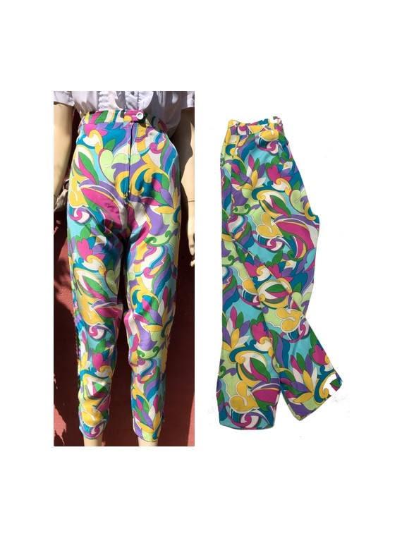 vintage 60s Pants floral pants summer pants PsyChe