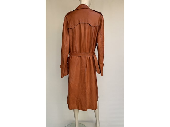 70s fox brown leather TRENCH COAT  Leather trench… - image 8