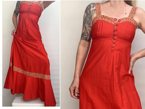 vintage cotton maxi dress // red cotton dress / ma