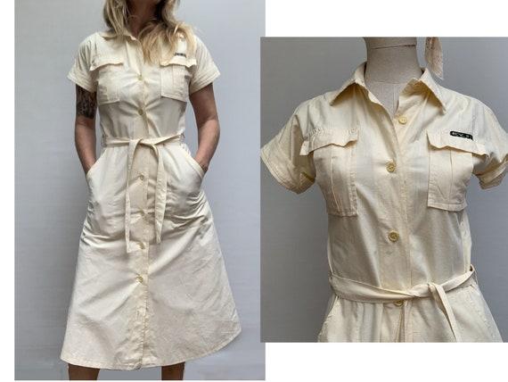 70s vintage cotton Beige SHIRTDRESS summer 70s dr… - image 2