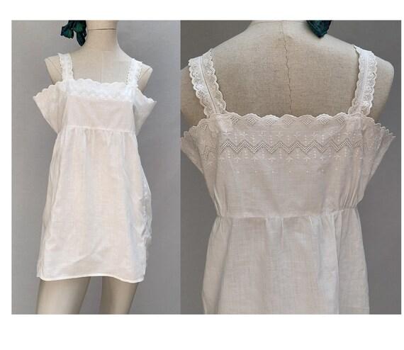 vintage  white cotton TUNIC // sleeveless tunic//