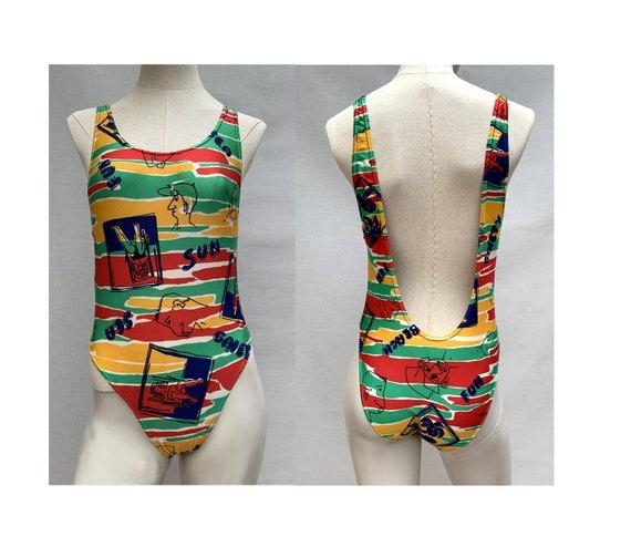 vintage swimsuit //80s one piece // eighties swimw
