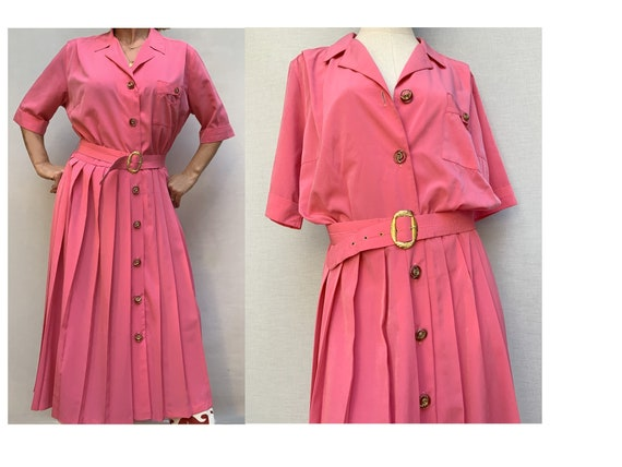 vintage 80s pink pleated SHIRTDRESS / 80s pink / 8