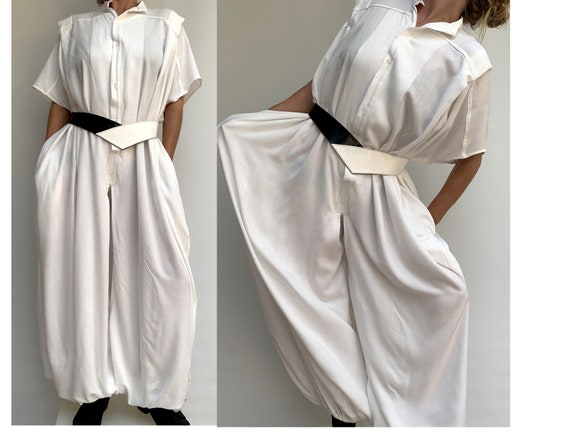 80s white cotton oversized Jumpsuits white dungare