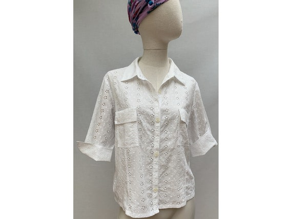 vintage 60s vintage broderie anglaise Blouse // wh