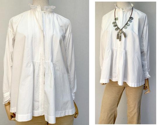 french antique linen cotton BLOUSE lace white cott