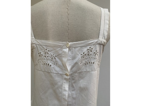 antique white cotton open eyelet embroidered DRES… - image 8