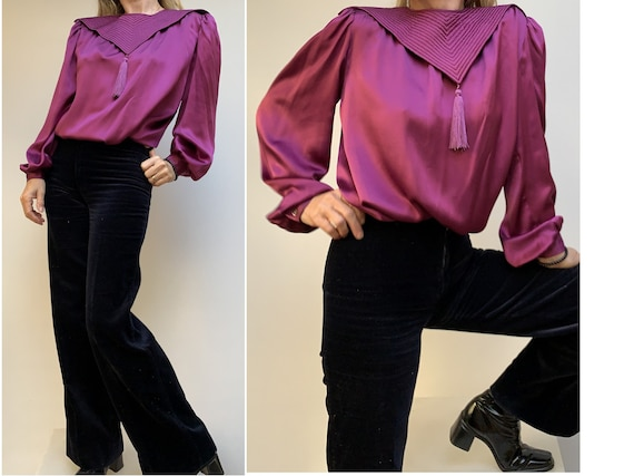 VALENTINO 80s Silk Purple BLOUSE tassel blouse lar