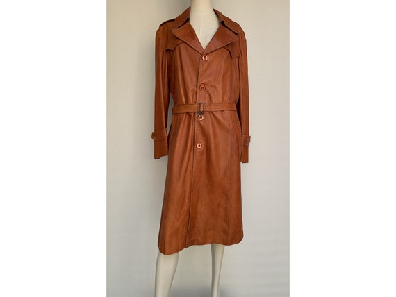 70s fox brown leather TRENCH COAT  Leather trench… - image 4