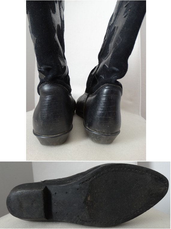 vintage boots // 80s western boots // black leath… - image 3