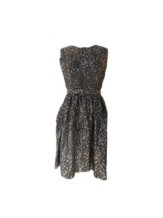 50s black  with gold lurex  DRESS //party dress //